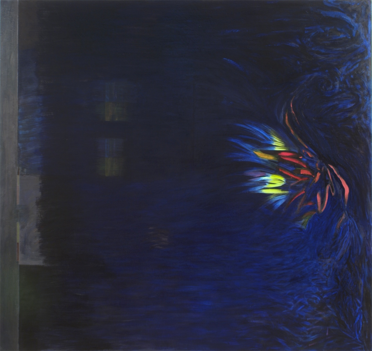 """Owl's Happiness (King of Wends), 2003, oil on linen, 66 1/2""""x70"""" (Collection: Dean Colson and Aileen Ugalde, Miami)"""