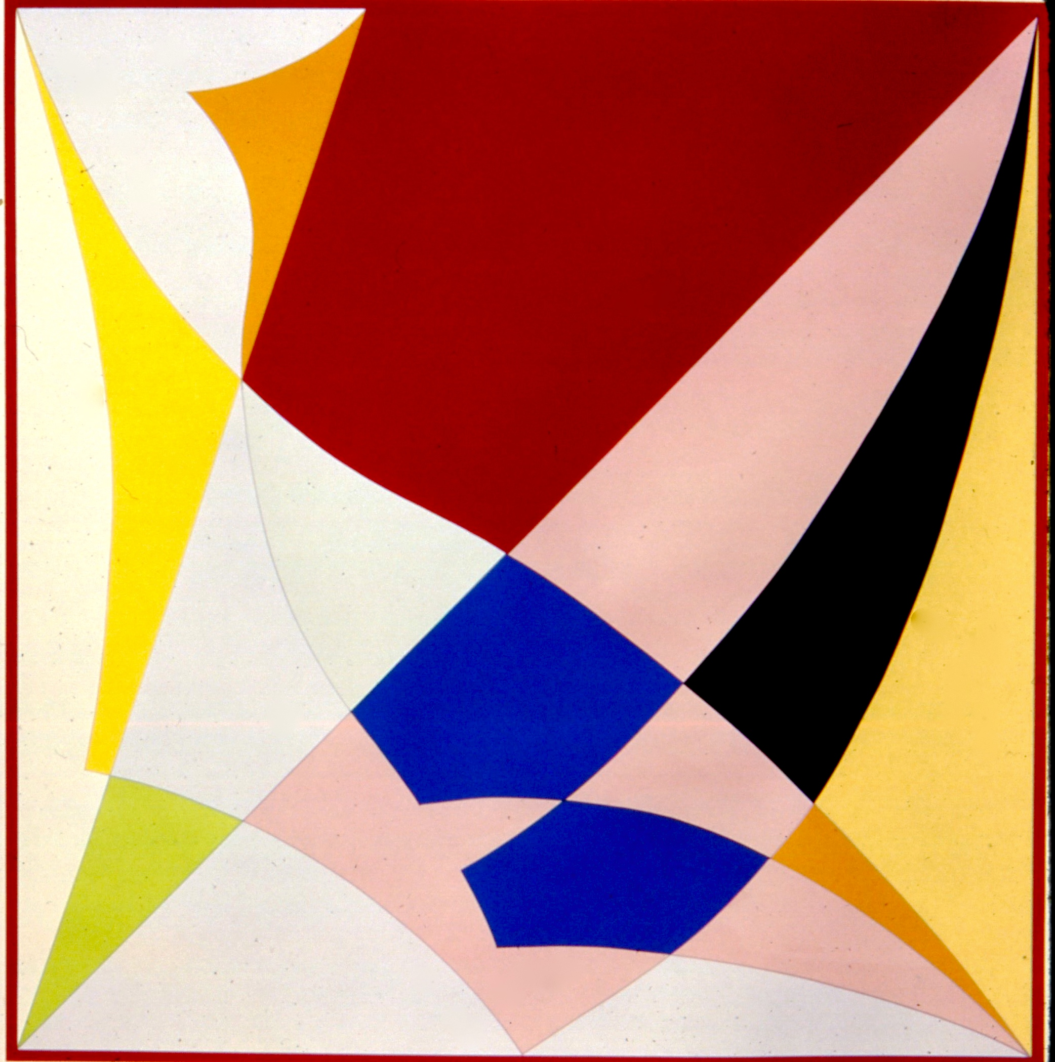 "Yellow, Grey, Blue, Black, Red, White. Ed. 15, 1985, silkscreen & pencil, arches 88 paper. 50""x50"""