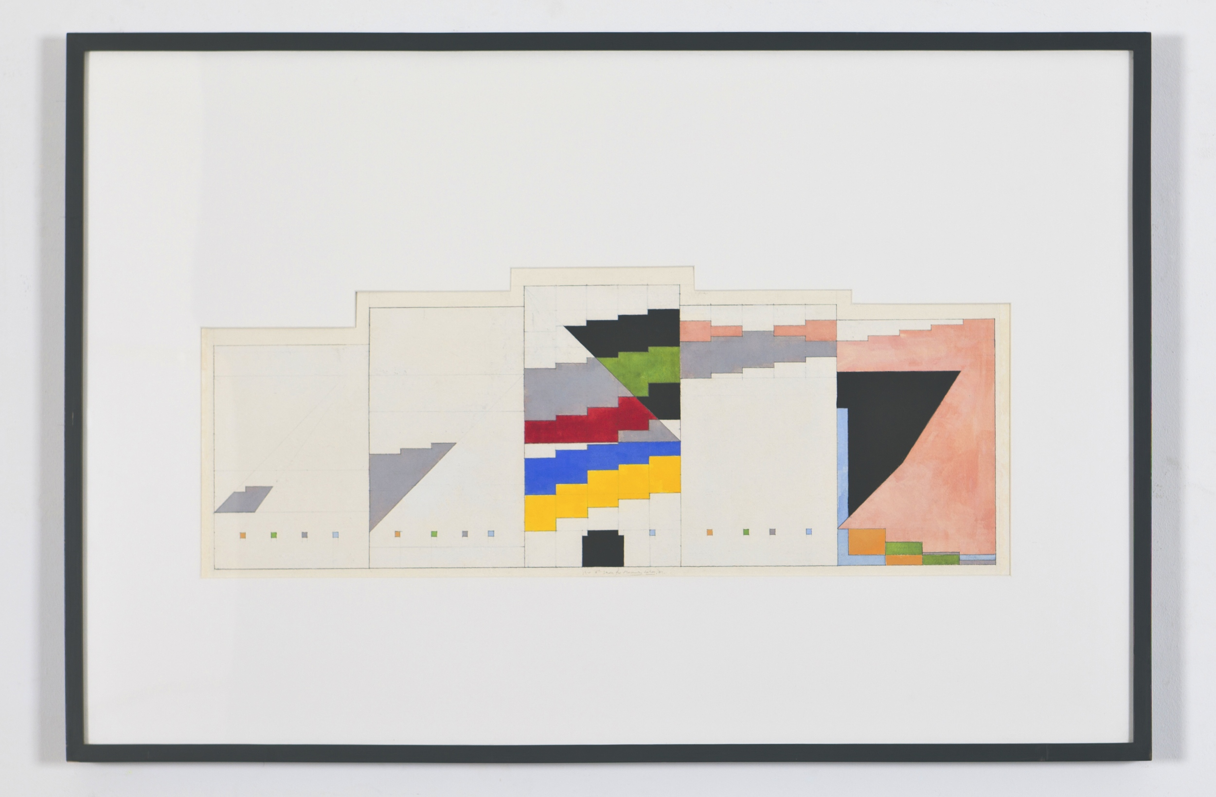 "Study for Masurian Lakes, 1981, gouache on paper. 11"" x 25 7/8"" (image), 25"" x 33"" (framed)"