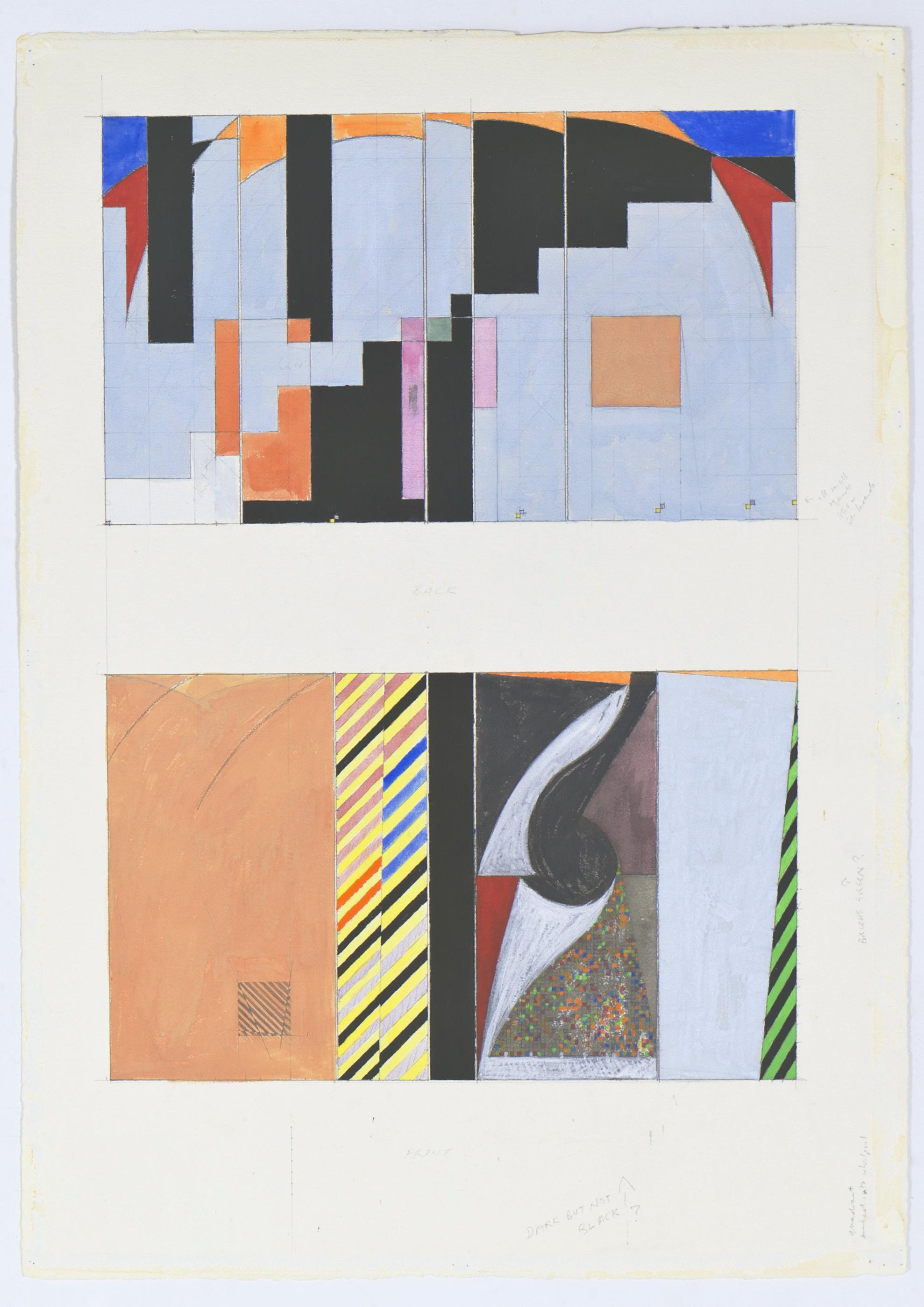 "Quadrant...into Whirlpool, 1984-85, gouache on paper, 41 1/4""x29 1/2"""