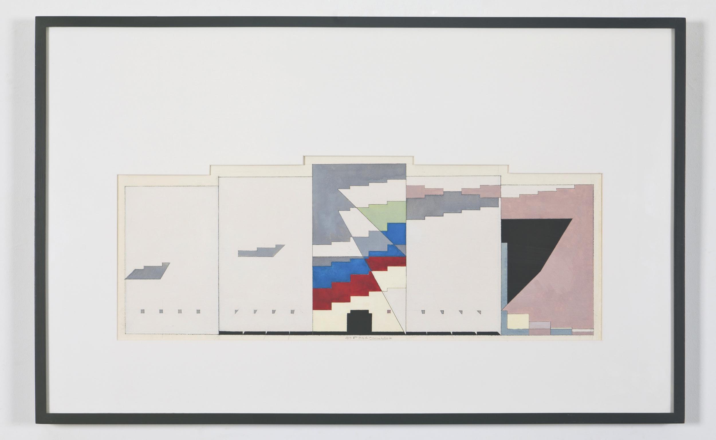 "8th Study for Masurian Lake, 1981,  10 1/2"" x  28 1/2"" (image), 24 5/8"" x 39 1/4"" (framed)"