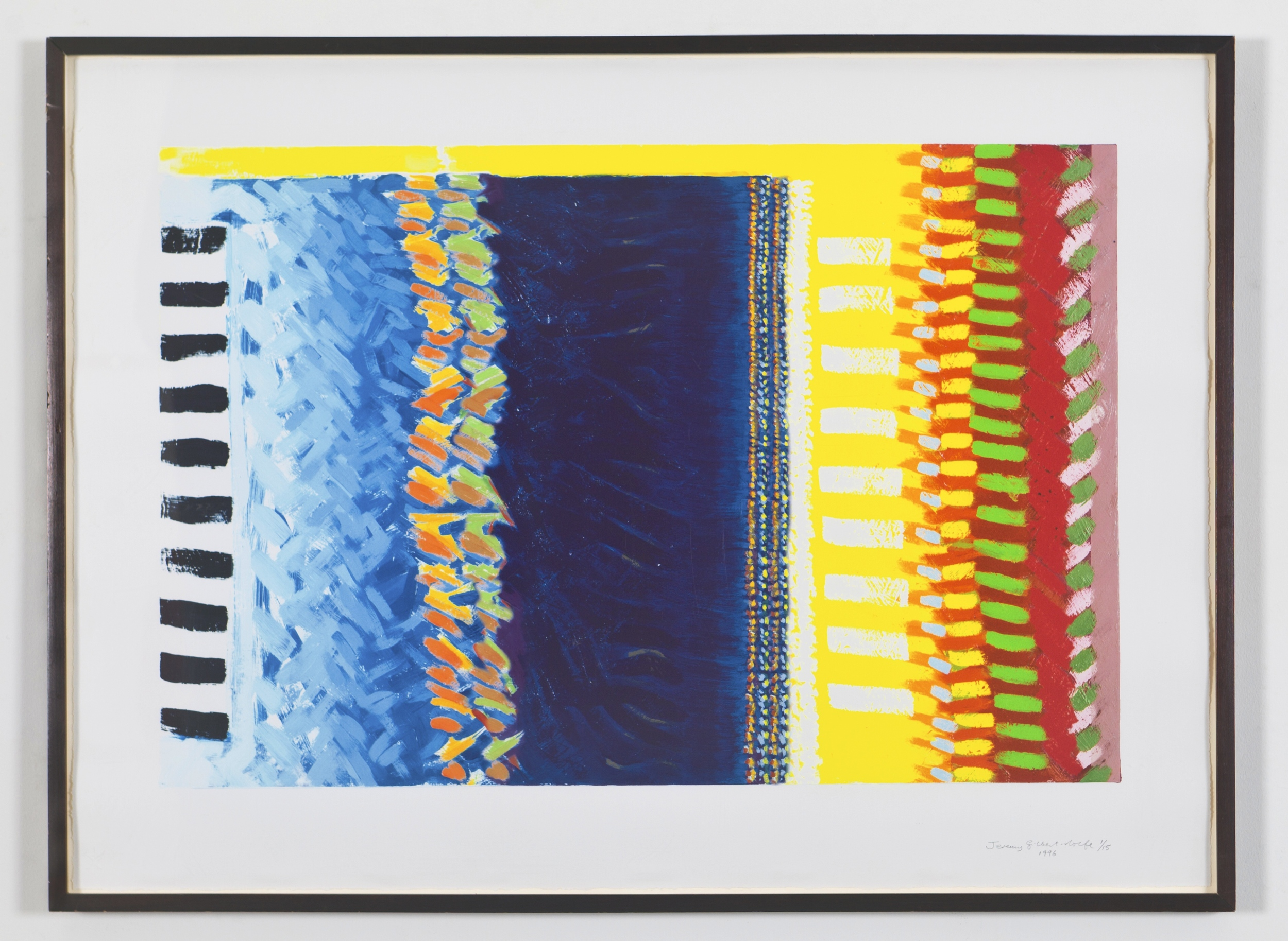 "Print of Blue Square (Raggae Painting), 1996, Lithograph. 30 1/2""x40 1/2"""