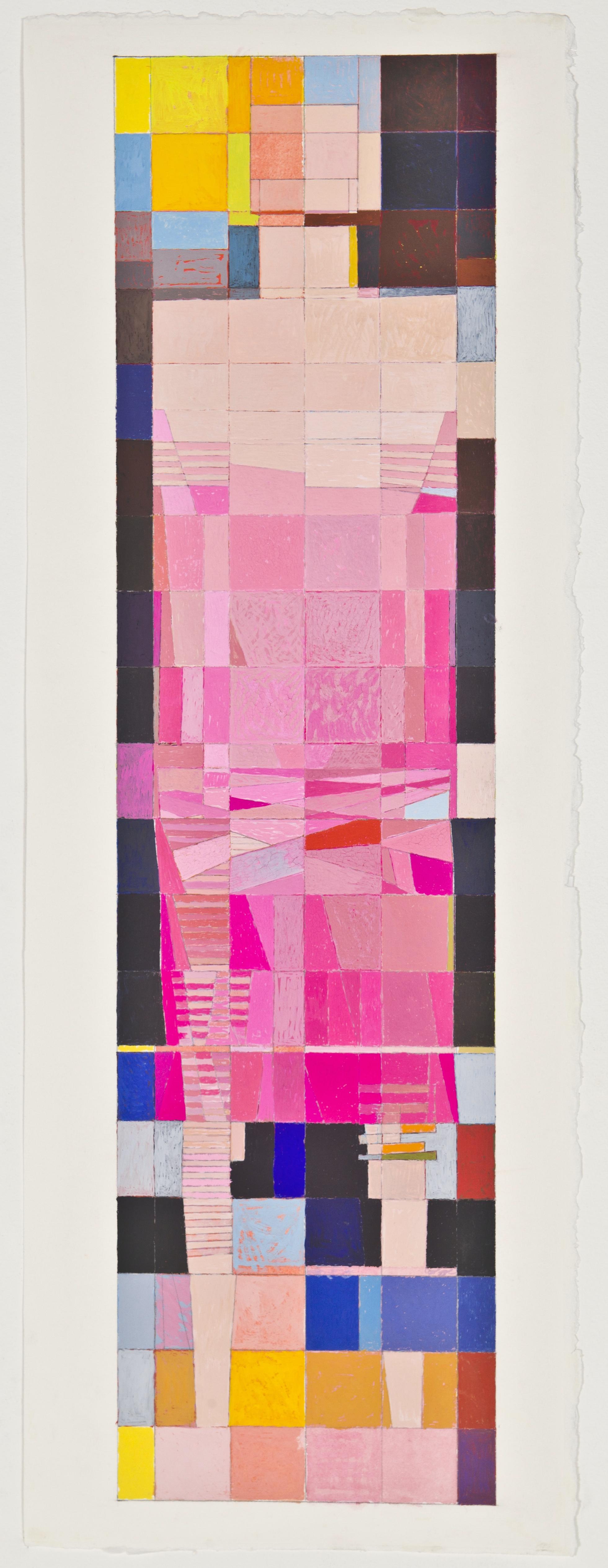 "Dress, 2012, gouache on paper, 28 1/2""x7 3/8"""