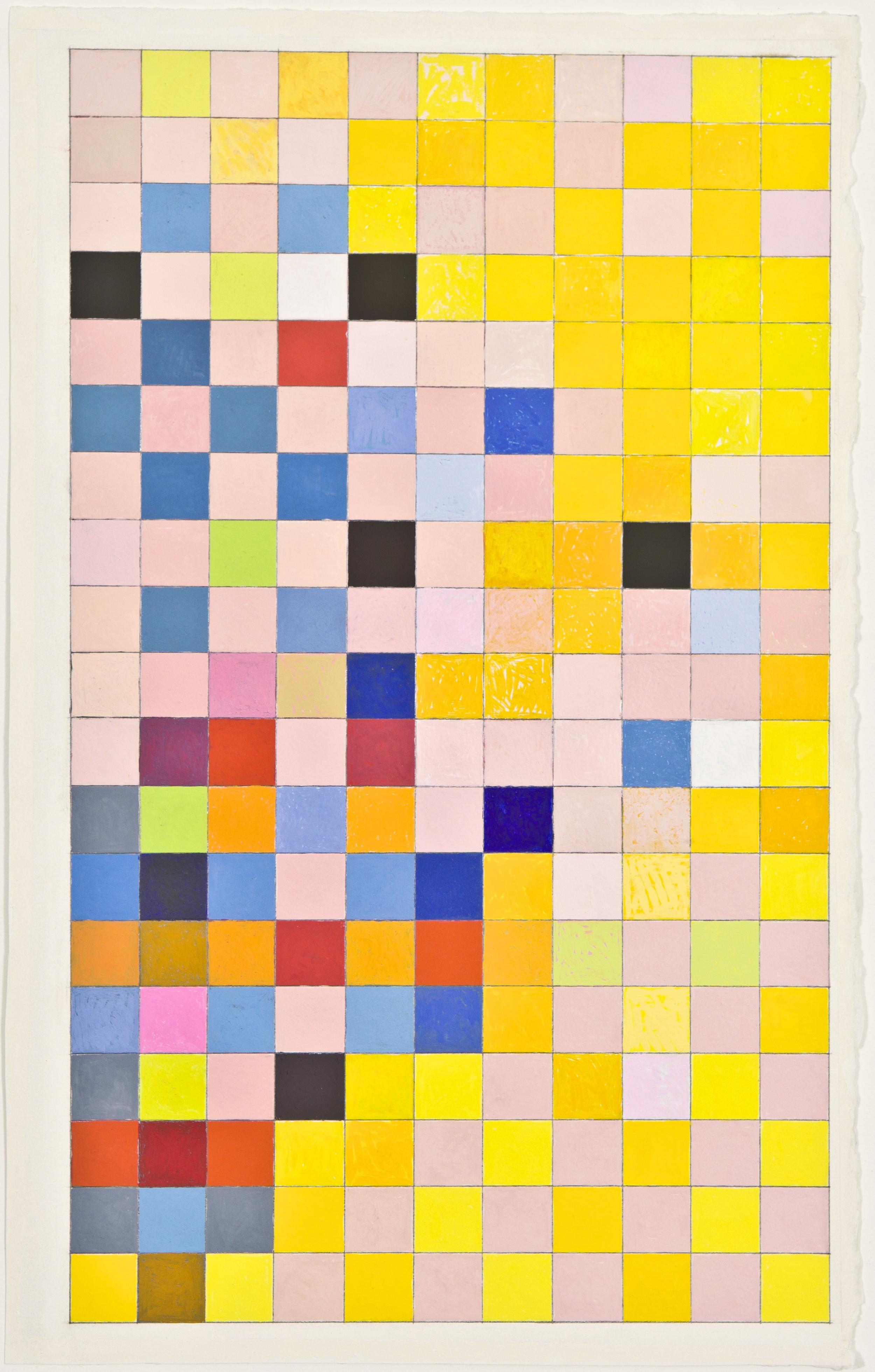 """Grid, 2012, gouache on paper, 28 1/2""""x17 1/4"""""""