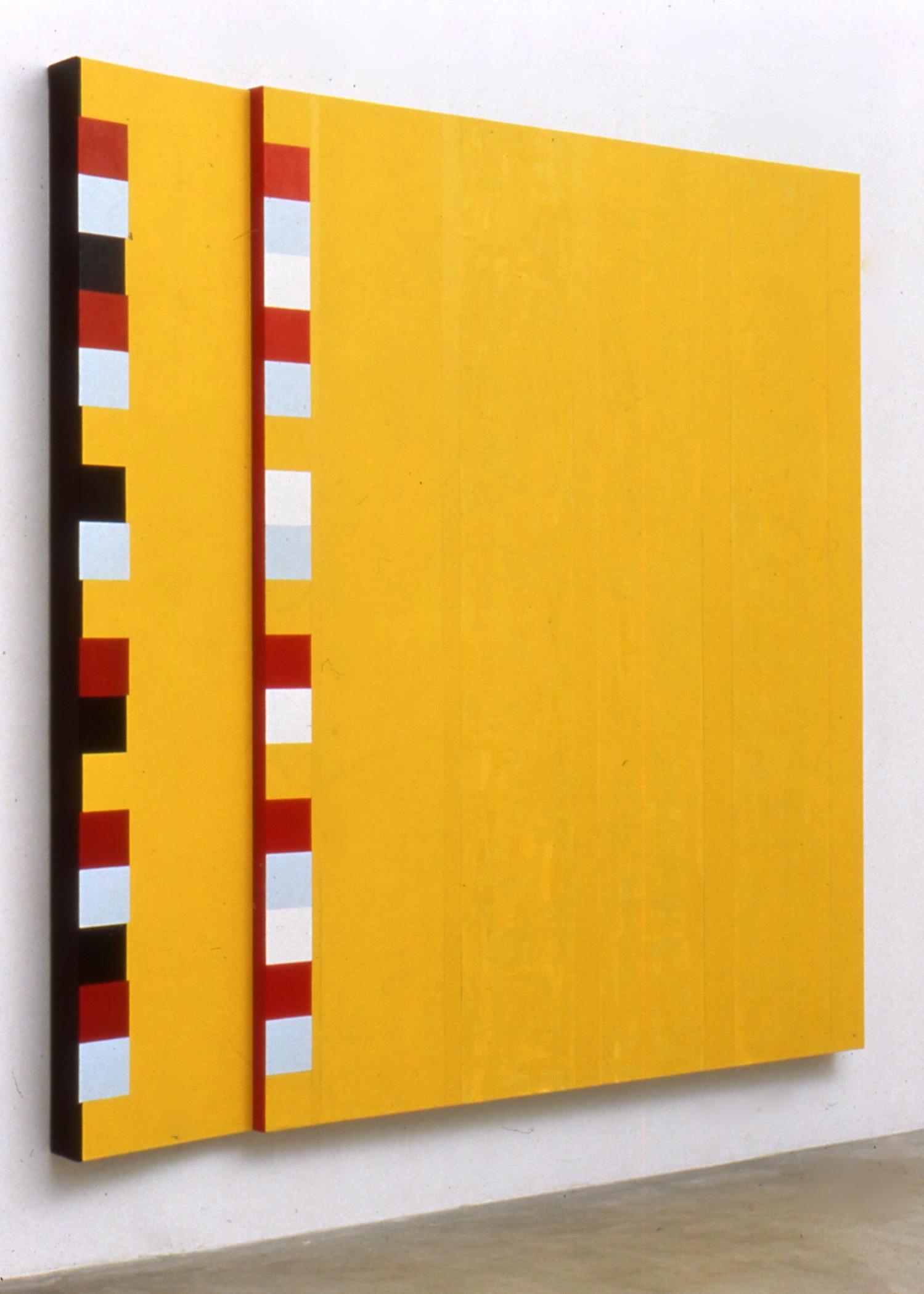 "Outside, Outside Again (Forwards, Backwards), 1990, oil on linen, 95""x95 (diptych)"