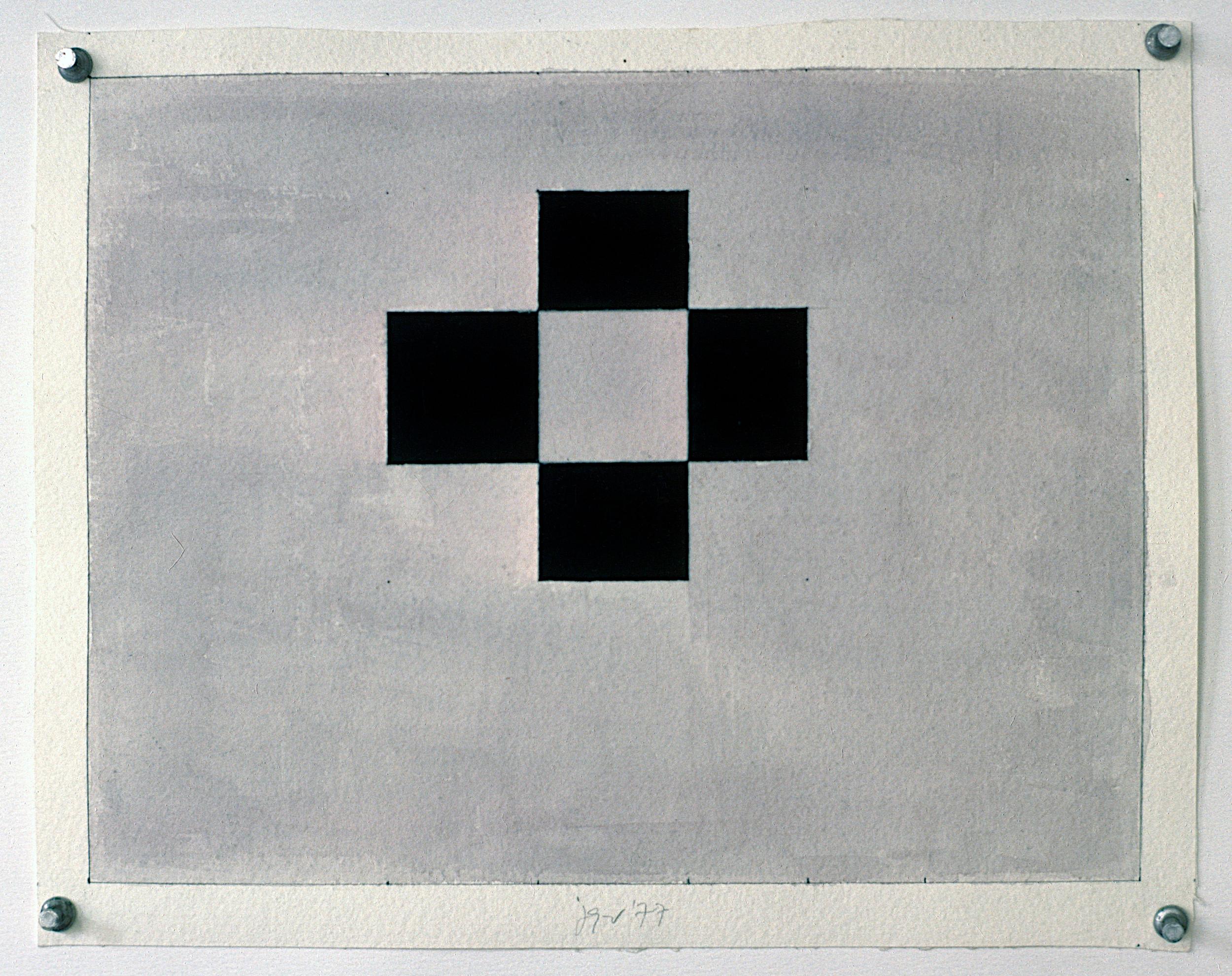 "Study, 1977. gouache on paper. 9 3/8""x12 1/4"""