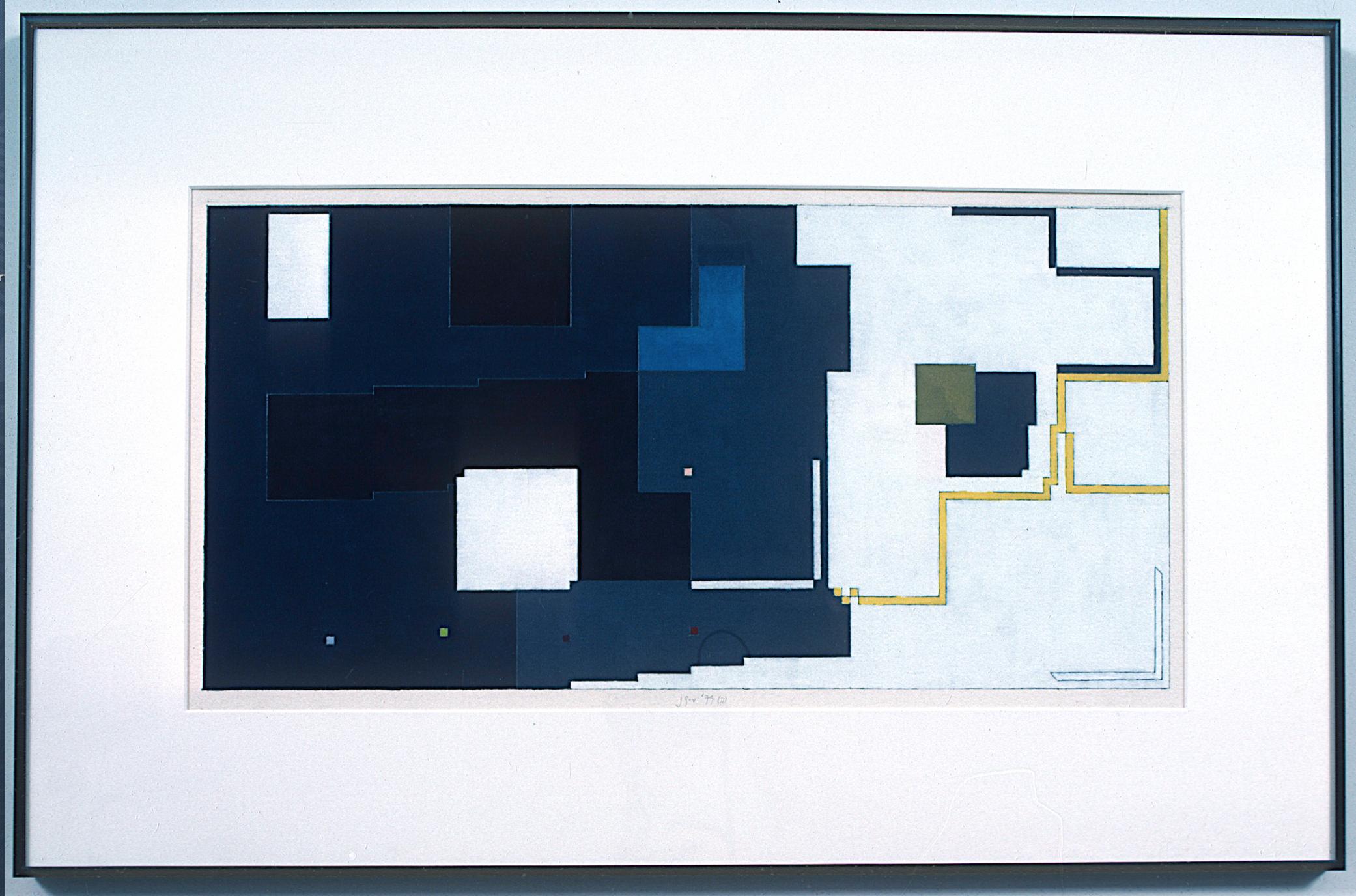 "ii, 1979. gouache on paper. 15""x25"""