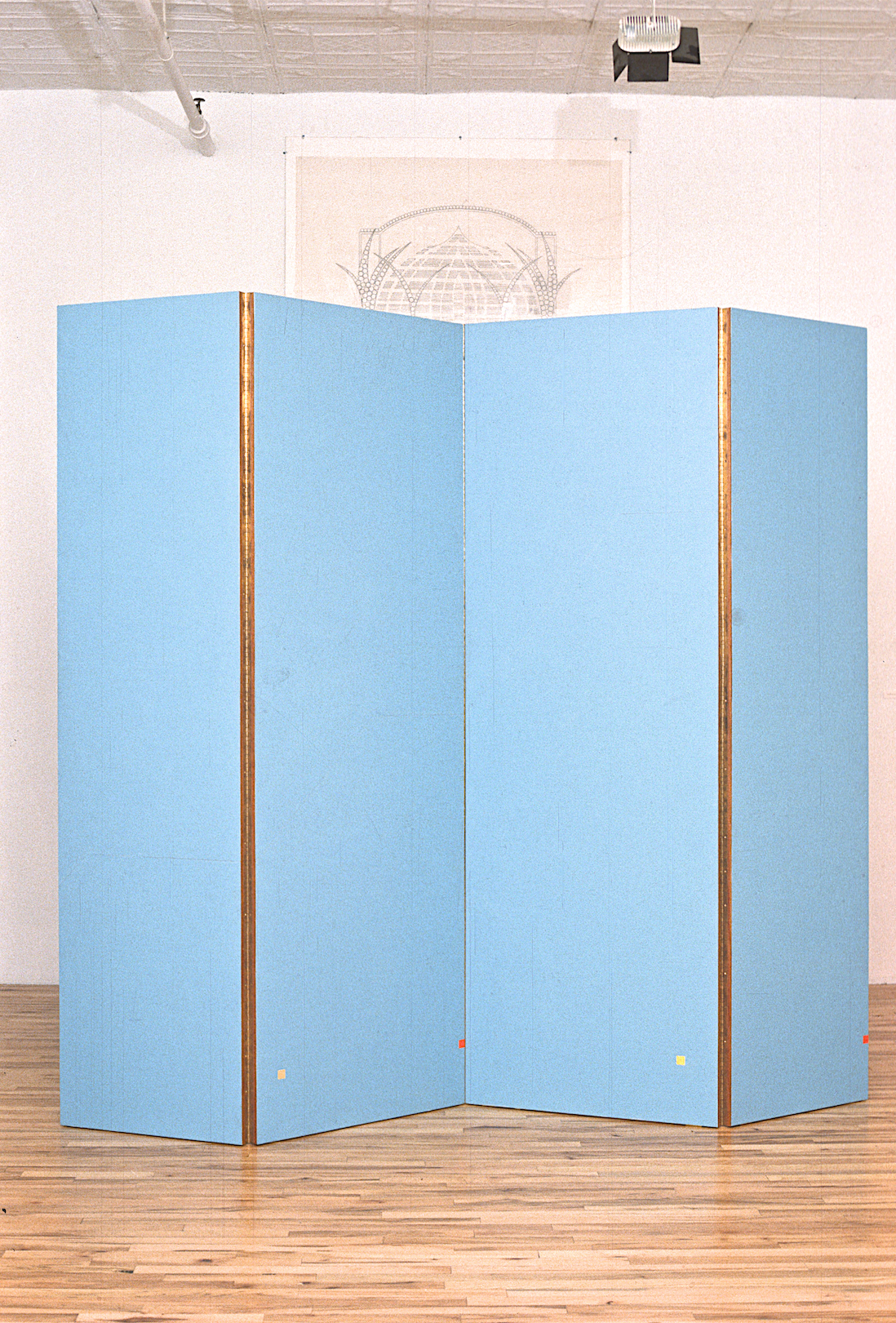 "North South (North Side), 1984. Plywood panel, piano hinges, oil paint. approx. 76""x76"" (4panels)"