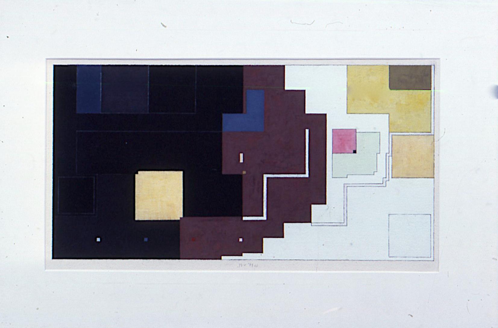 "(i), 1979. gouache on paper. 14""x25.5"""