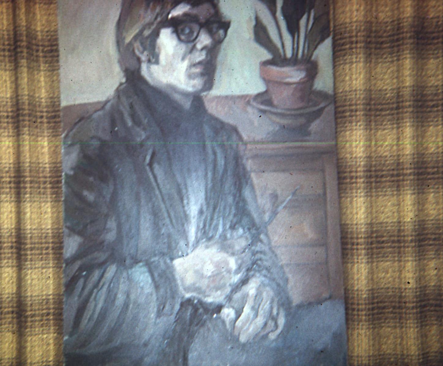 """Self Portrait, 1966. Oil on Board. 28""""x48"""""""