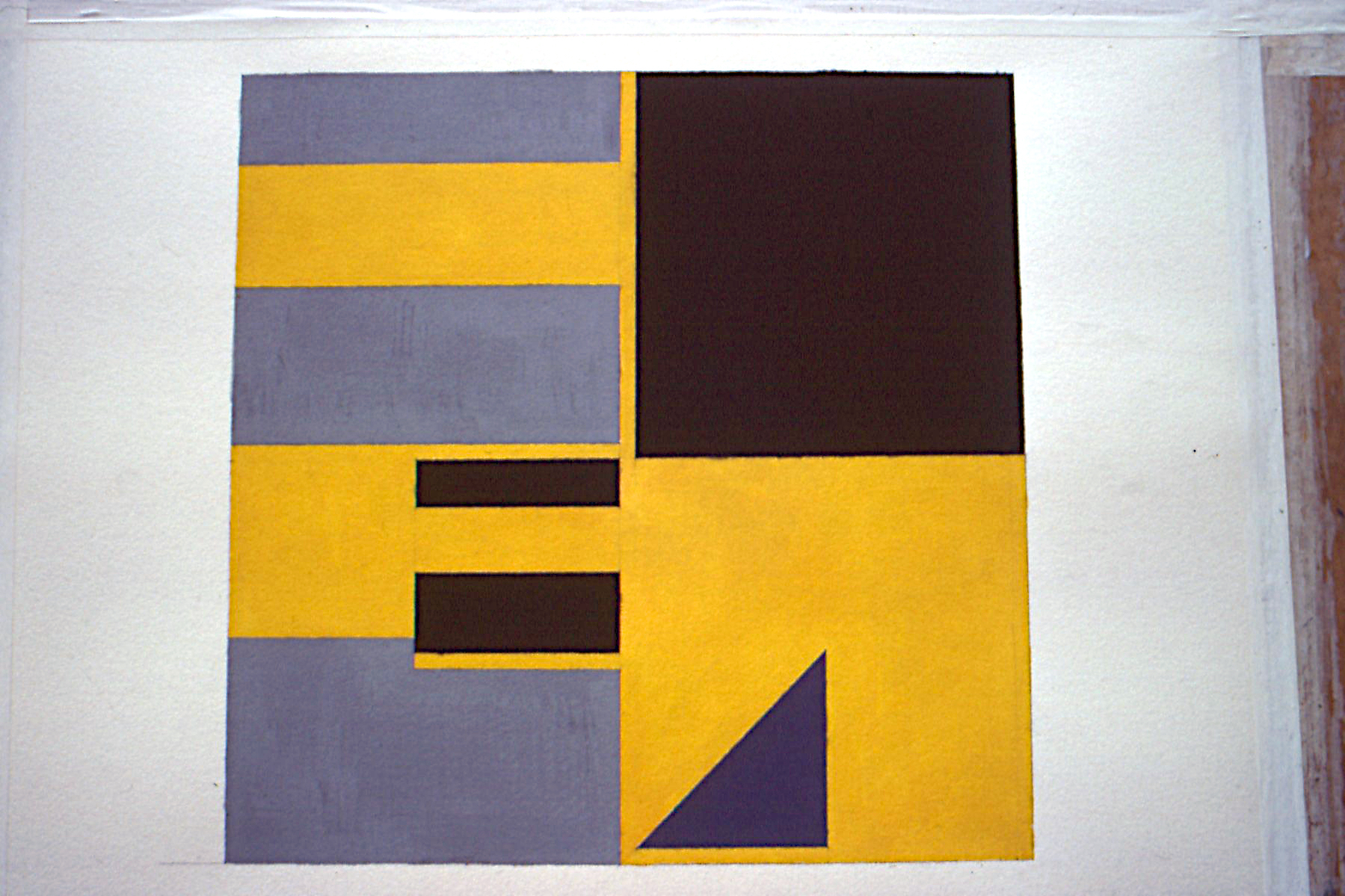 "Untitled, 1987. gouache on paper. 25""x25"""