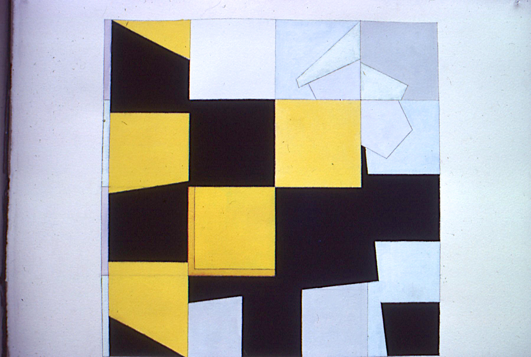 "Untitled, 1986. gouache on paper. 25""x25"""