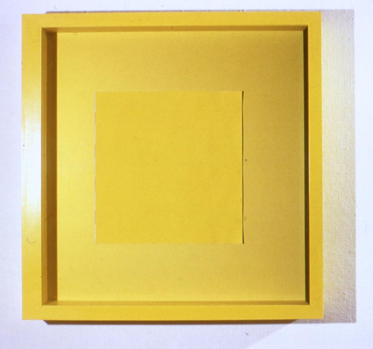 "Depth Seduction, 1988. mixed media gouache photo plexi frame. 47""x47""x4"""