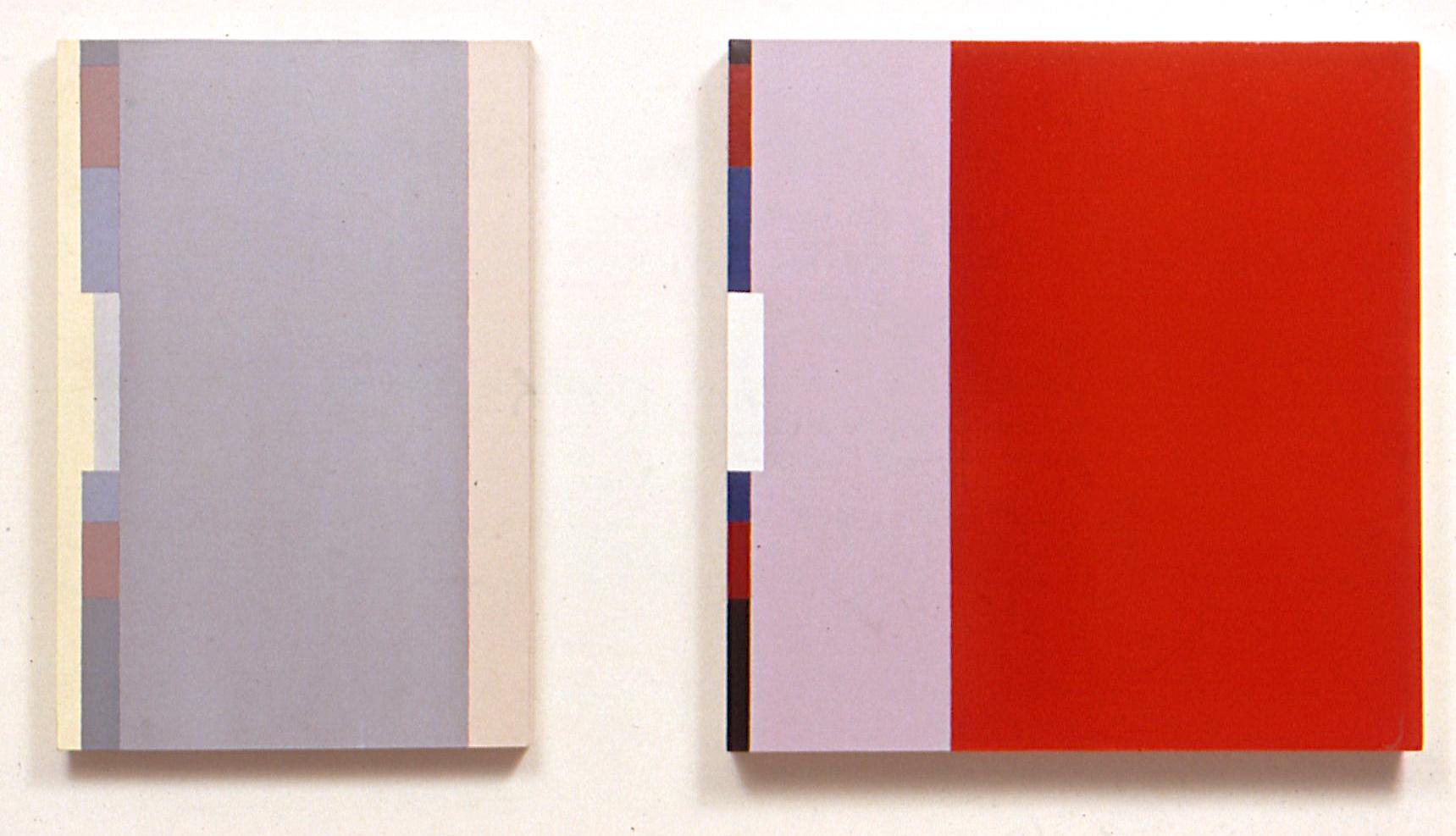 "Fog, 1990. Oil on linen. ditych 28""x19""x2.5"", 28""x28""x3.5"""
