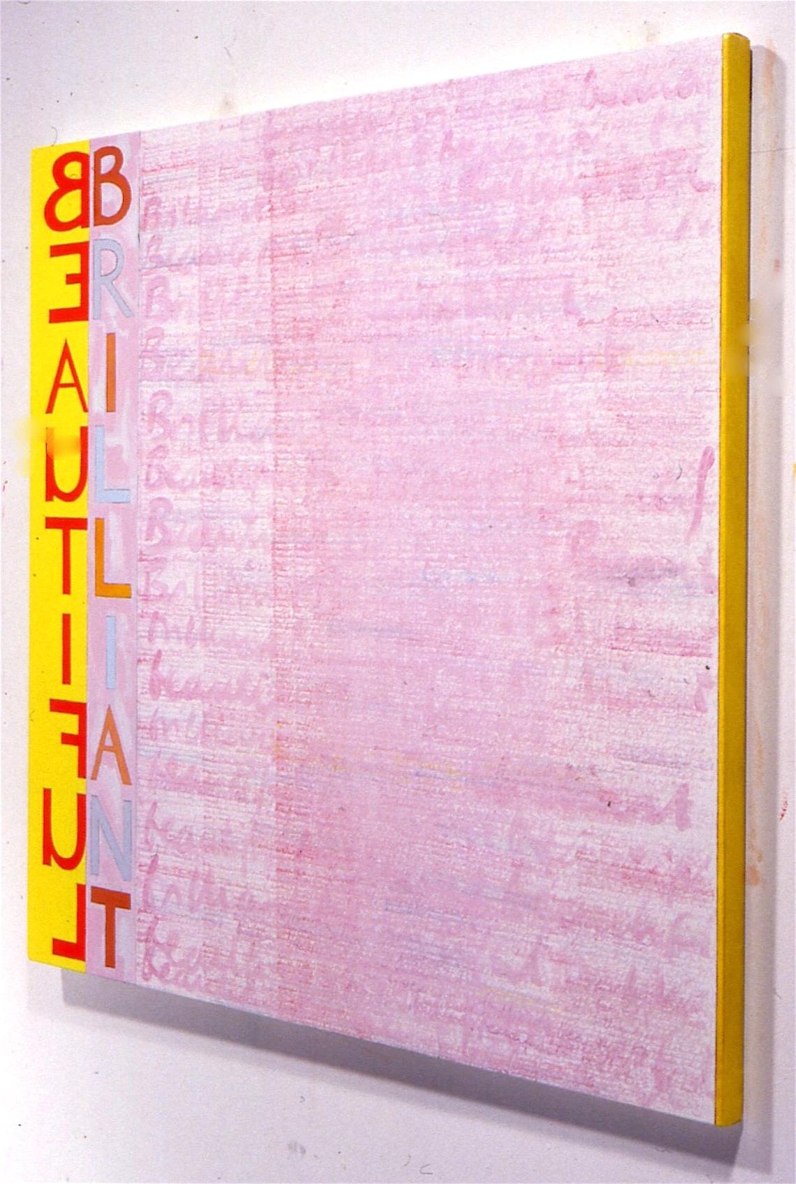 "Blasphemy, 1989, oil and vinyl on linen, 45""x45"" (detail)"