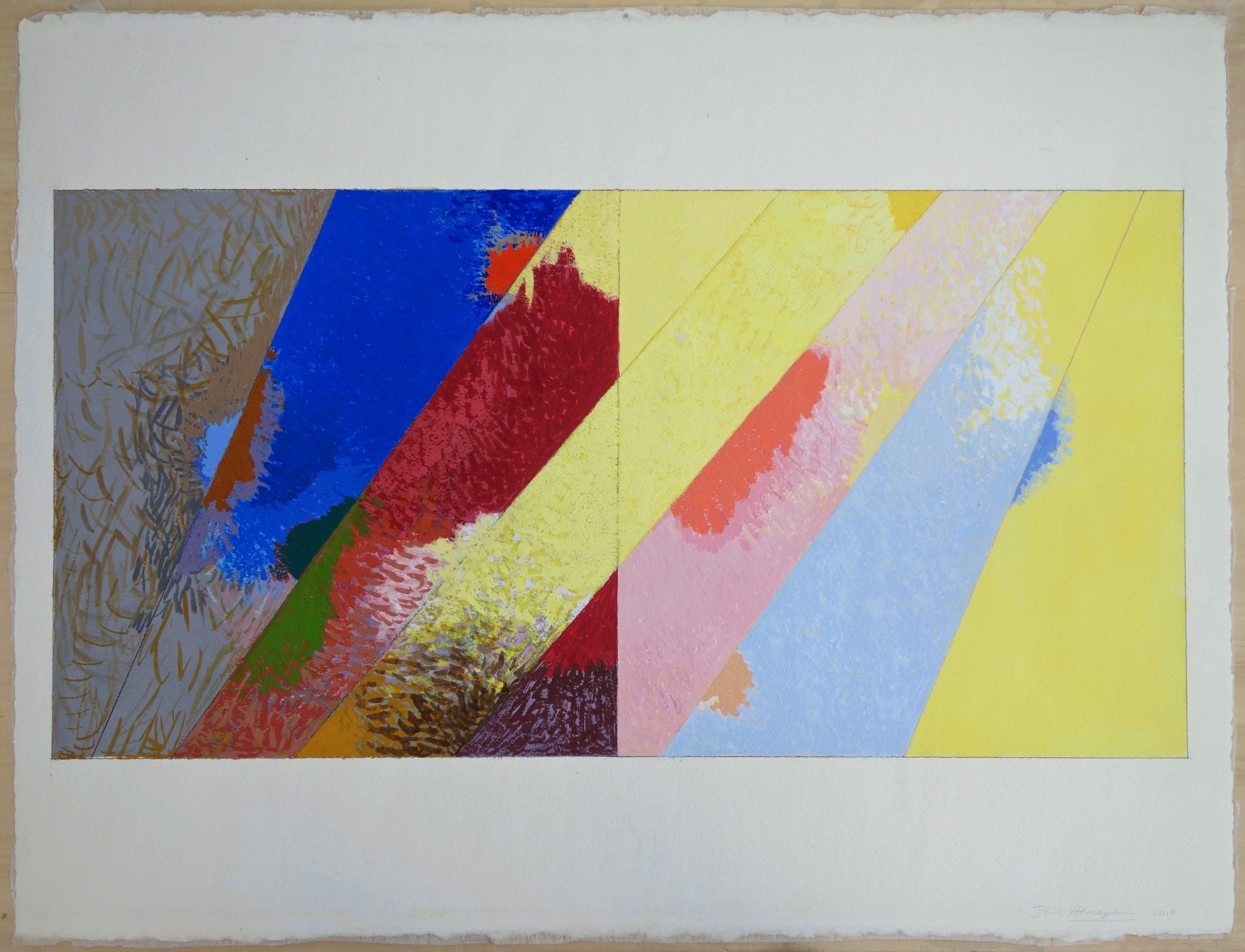 Atmospheric (2014), Gouache on Paper. paper 22.5x30; image 14x28 in.