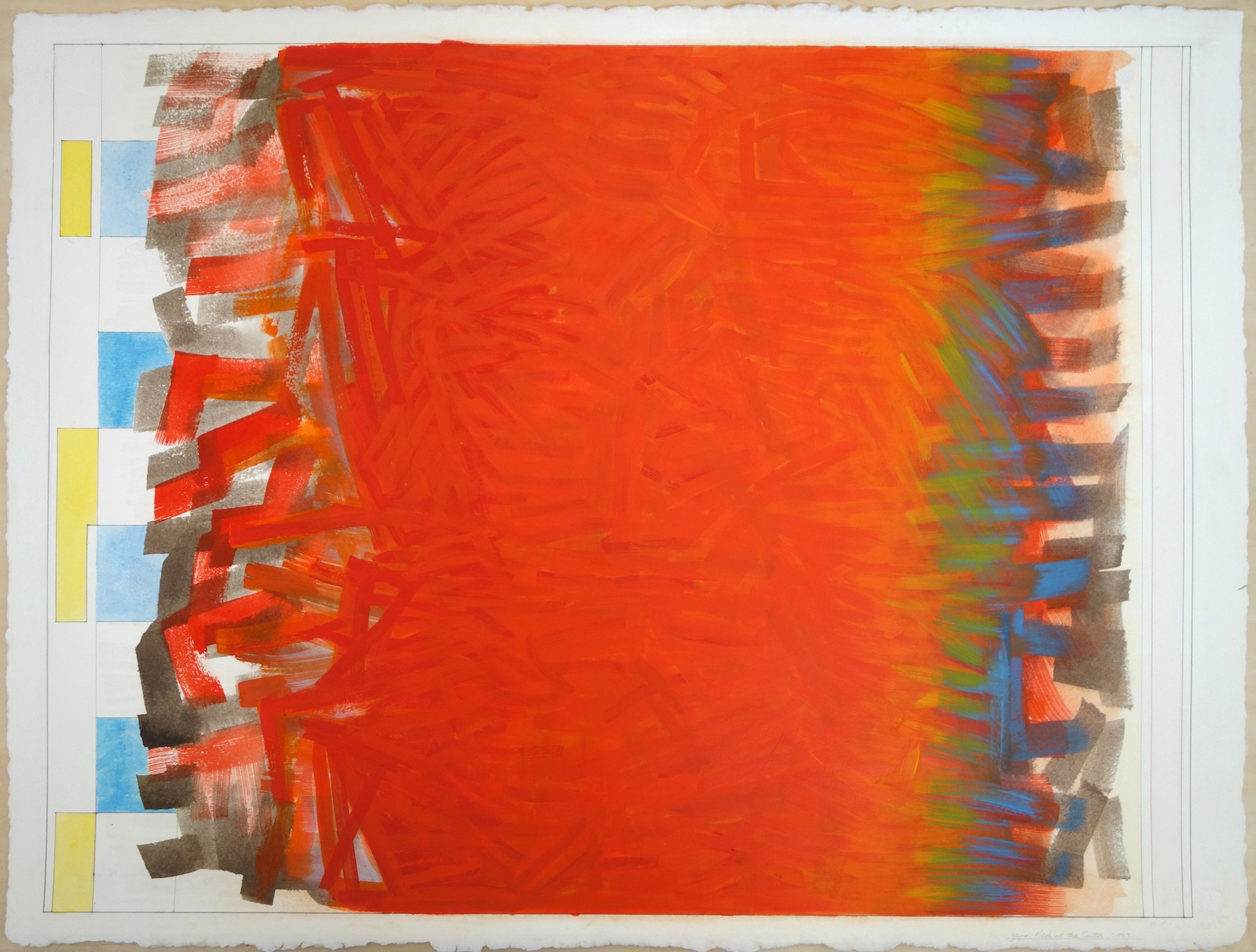 """Red at the Centre, 2001. Gouache on Paper. 22""""x30"""" (paper); 21.25""""x28"""" (image)"""