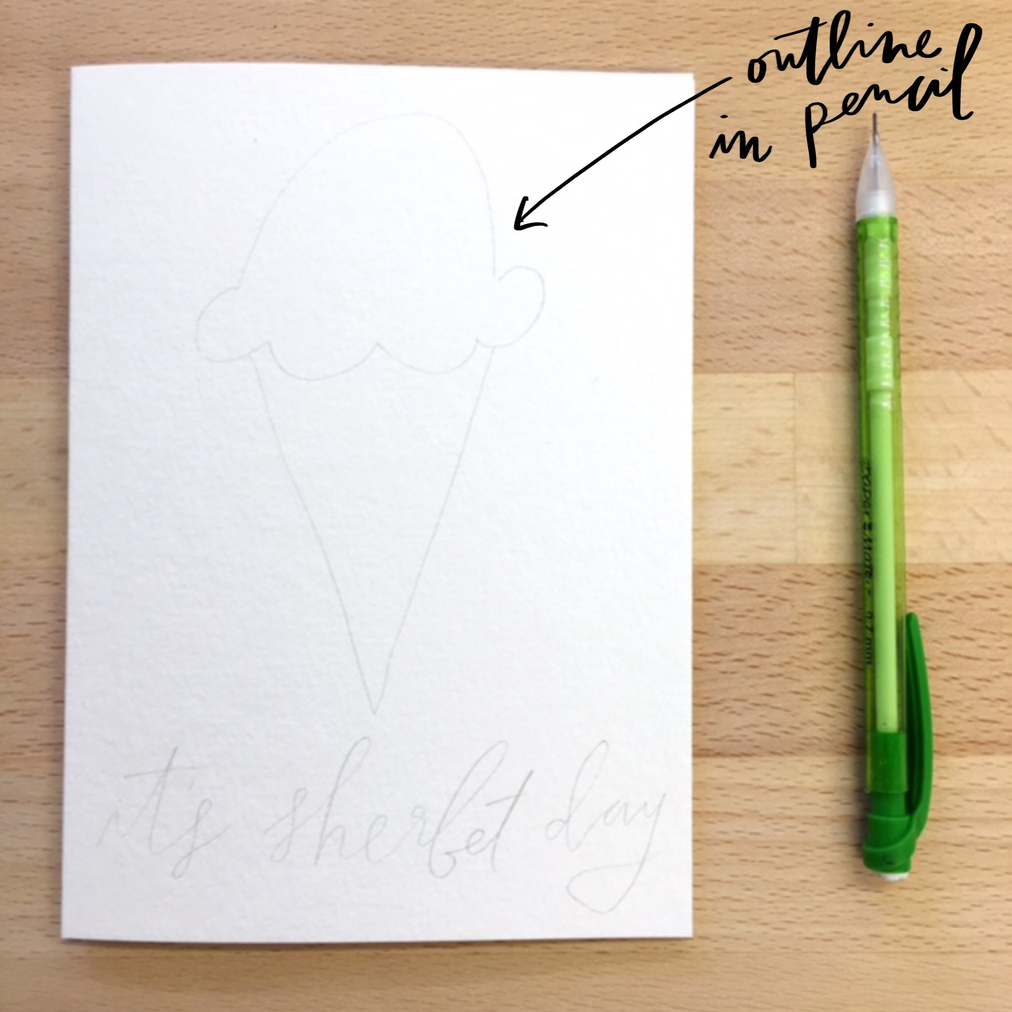 make a punny birthday card outline