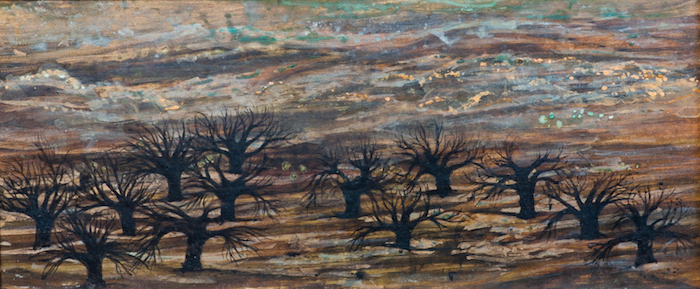Sylvia Fein  Abandoned Olive Trees , 2005 9 1/2x 4 inches, tempera on panel