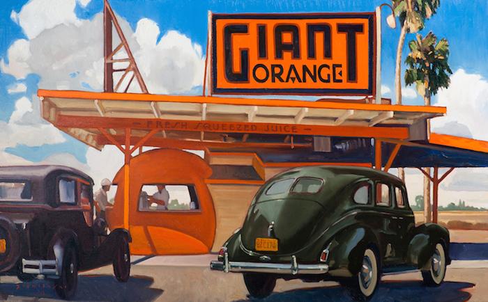 Dennis Zieminski  Giant Orange, Bakersfield , 2012 30 x 48 inches, oil on canvas