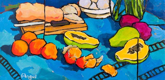 Angus Wilson  Bread, Papaya, and Tangerines , 2010 12 x 24 inches, acrylic on board
