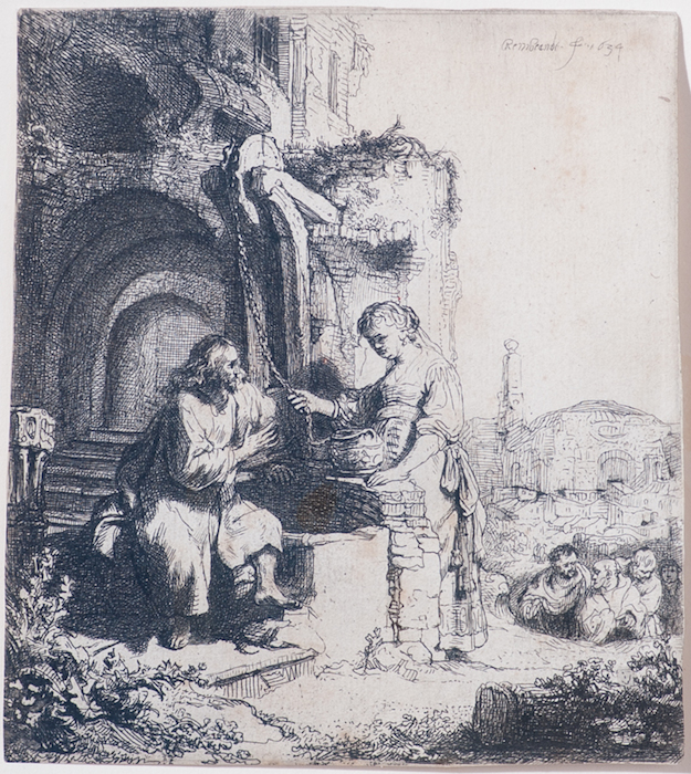 Rembrandt Harmenszoon van Rijn  Christ and the Woman of Samaria: Among Ruins ,1634 4 3/4 x 4 1/8 inches, etching