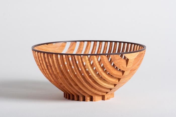 Dewey Garrett  Moire' Vessel , 1989 4x 8 inches, oak and maple