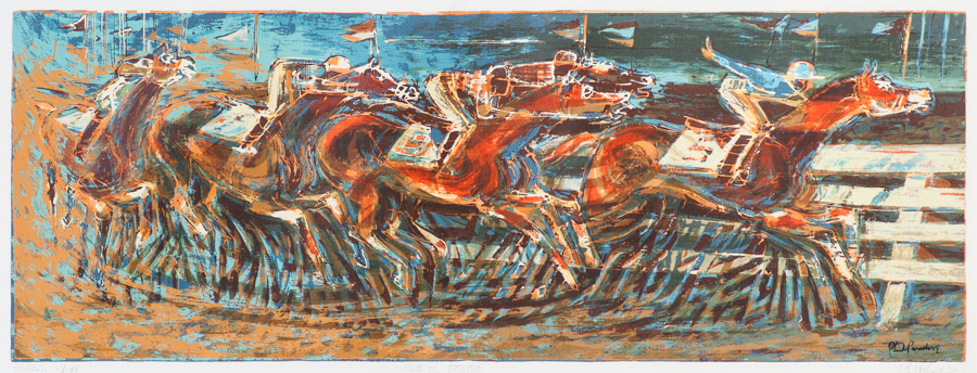 Phil Paradise,  Into the Stretch , 1994, 11 x 30 inches, serigraph (BMoA Collection)