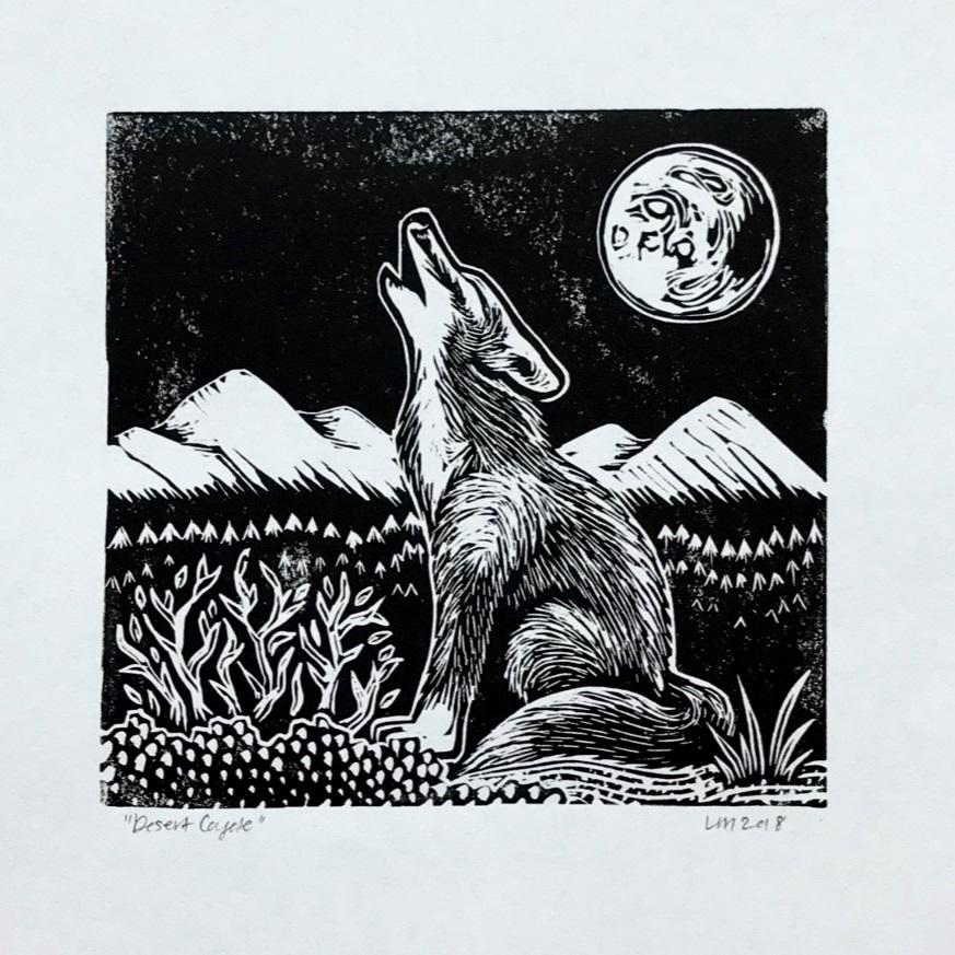 Lia Mendez, Desert Coyote, ink on paper. Image courtesy of the artist.