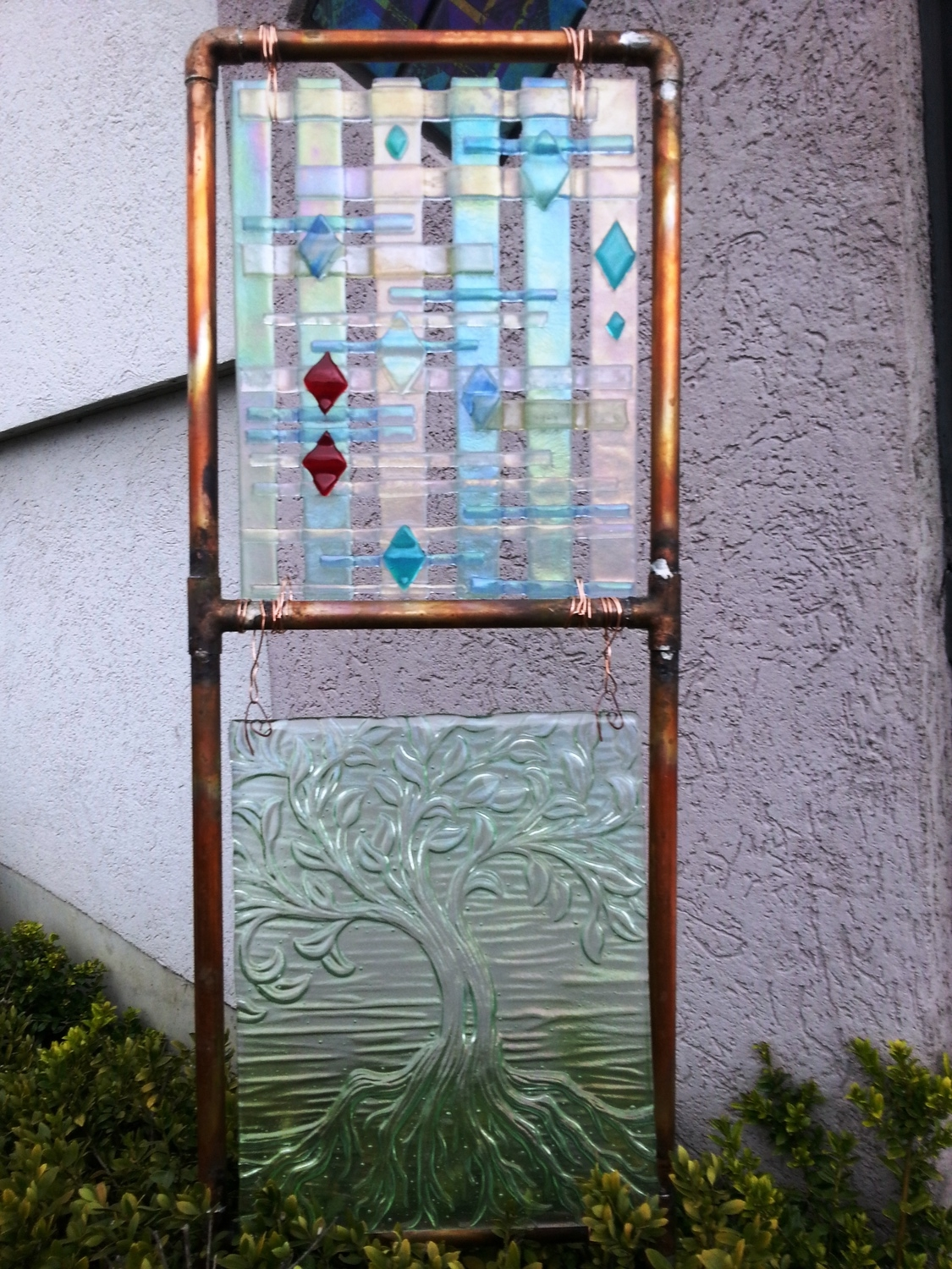 Yard Art Copper Trellis with a fused panel.jpg