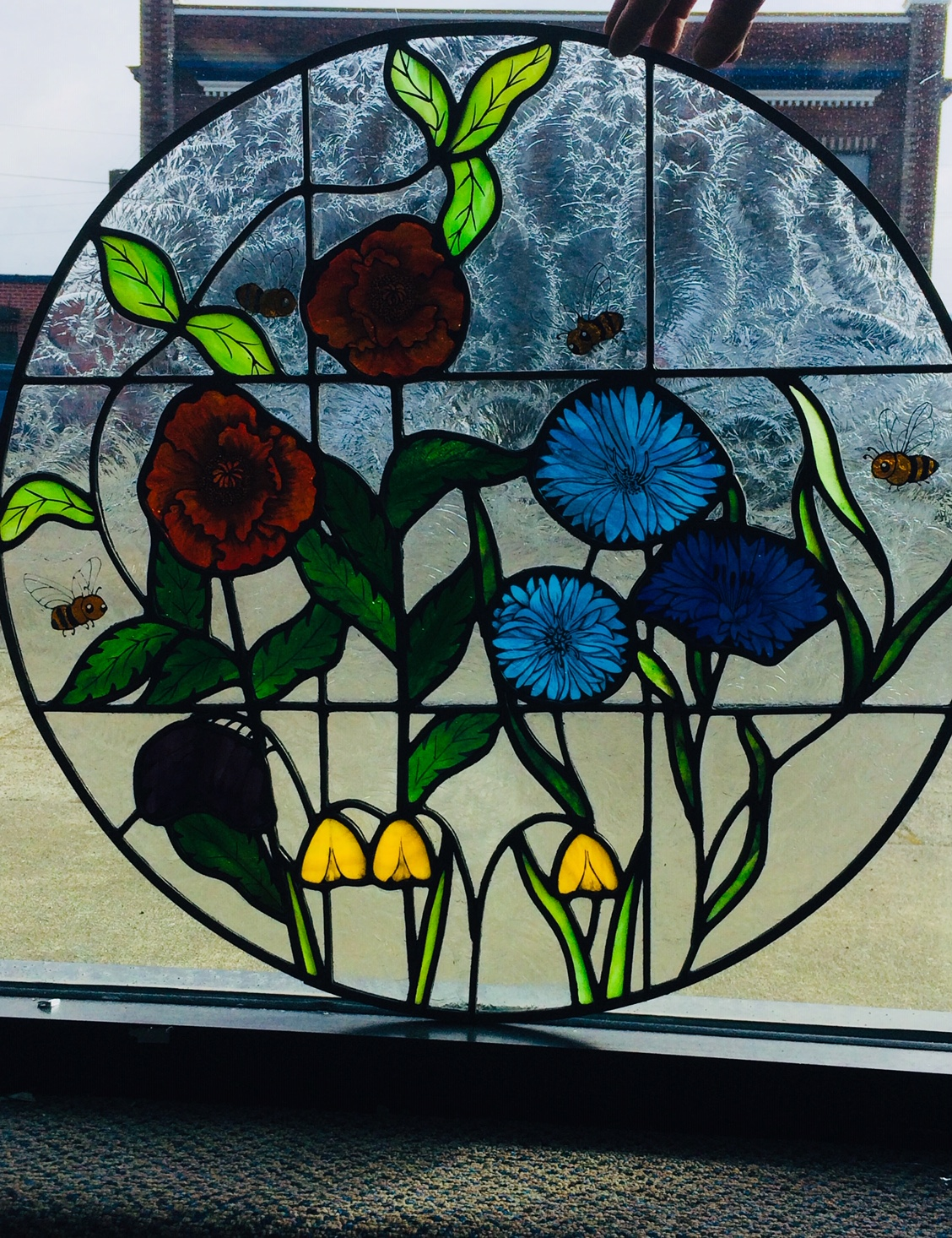 Painted Flower and Bumble Bee Stained Glass Window.jpg