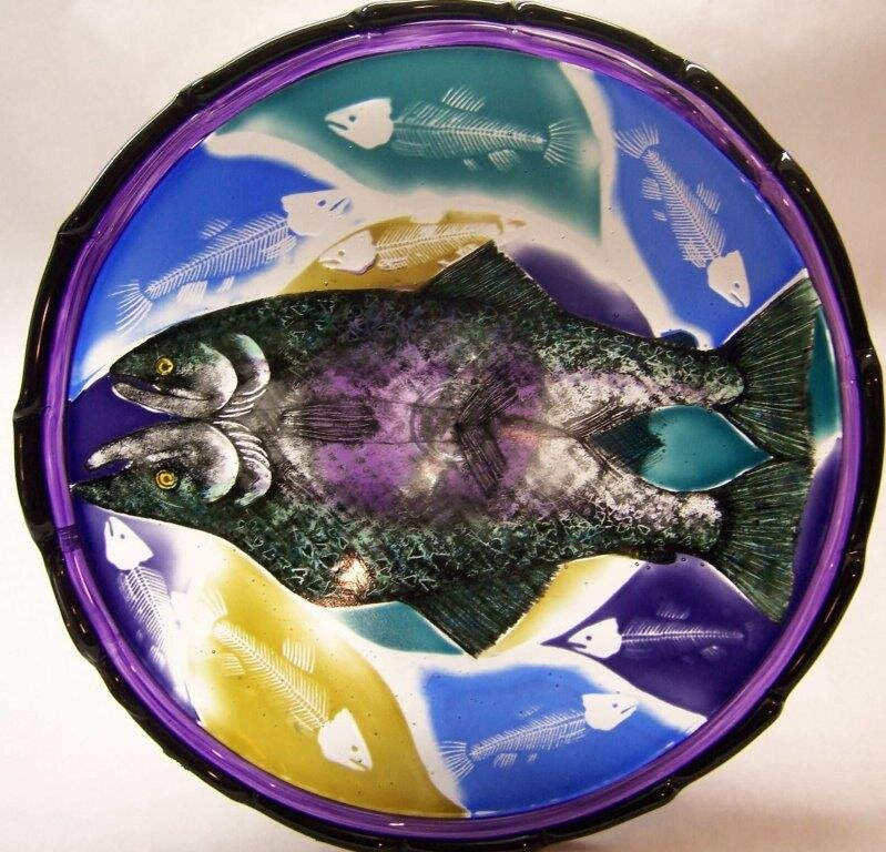"Fish Bowl with etched Skeletons  9.5"" diameter  Regular Price: $600.00"