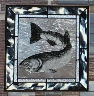 "Painted Salmon with Fremont Glass  16""x 17"" Zinc Border  Regular Price: $500.00"