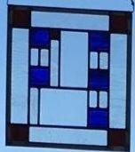 "Frank Lloyd Wright Style Blue & Clear Squares  12""x 8"" Zinc Border  Regular Price: $150.00"
