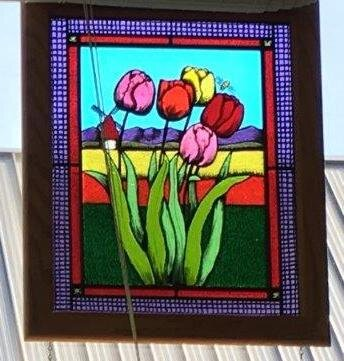 "Tulips and Windmill  19.5""x 23.5"" Oak Frame  Regular Price: $1,500.00"