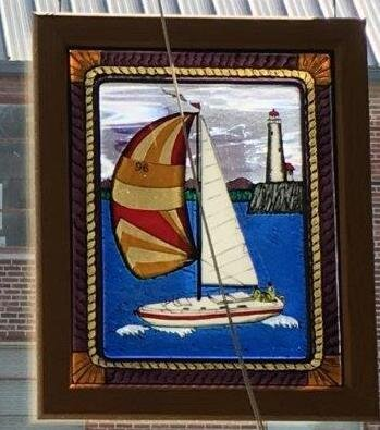 "Sailboat with Blue Painted Water  19.5""x 23.5"" Oak Frame  Regular Price: $1,500.00"