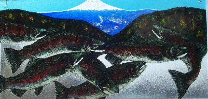 "Salmon with Issaquah mountain backdrop  29.5""x 15"" Hangs by Fish Hooks  Regular Price: $600.00"