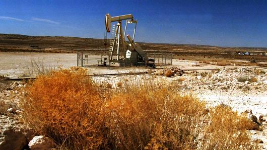 Oil pump operating Permian Basin oil field near Carlsbad, New Mexico