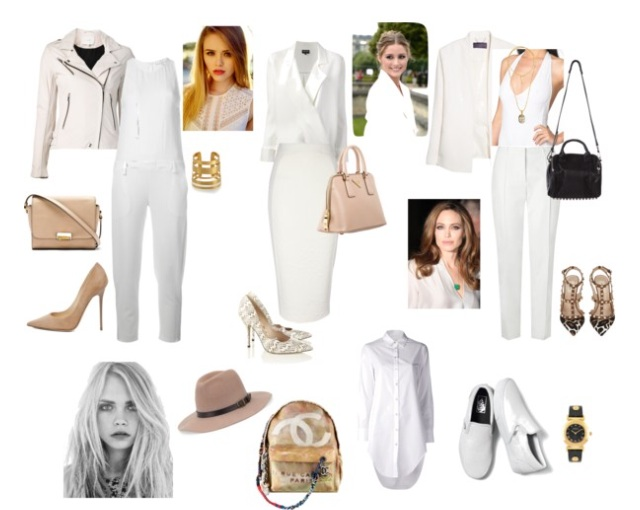 1. Wear a jumpsuit for an easy, polished look that is both comfortable and killer chic. I love the idea of pairing it with great neutrals and a motorcycle jacket. This is something I would wear to dinner with friends. Easy blown out hair and a red lip is a great balance of casual and glamorous.   2. All white really makes a powerful statement. It says clean, pristine, and I'm not fucking around. I love pairing a blouse with a pencil skirt for a meeting. A top handle bag that allows you to fit whatever paperwork you may need with a snake skin pump really amps up the look. Be confident and keep the hair off your face. You're there to work. Everyone may think you look hot as hell but they also know not to fuck around with you.   3. I love going out in a sexy suit. No guy is going to mess with you but they will think you look sexy. All your friends will wish that they had the confidence to rock the look as well. Make it edgier and add animal prints and studs to the look. I love a bit 70's, American Hustle Amy Adams, blow out for a beauty look. A smokey eye also adds to the sex appeal. Also, how nice will it be to dance on whatever surface you choose (I like tables and stages) without wondering if people see your underwear.   4. This shirt dress is something I would live in. Keep it comfortable and casual. It's a great weekend look. I love the basic white slip ons, an all purpose backpack, hat, and just a watch to know how late your adventures going till. Keep the hair tousled and maybe just some waterproof liner. This is simple and really works in every city. I could wear this in Venice, CA and in Paris.