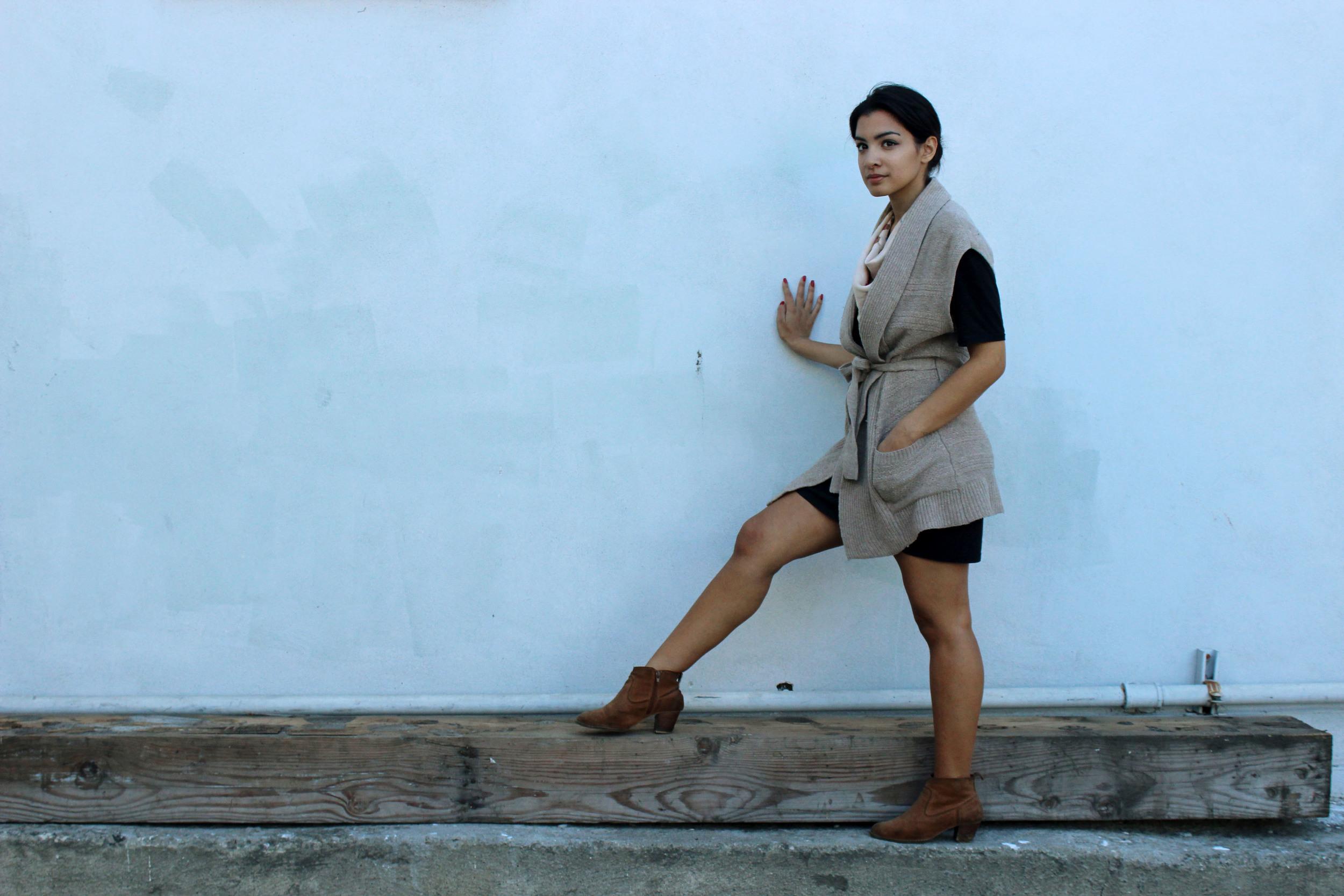Sweater: The Gap Dress: H&M Scarf: Dior Shoes: Dolce Vita