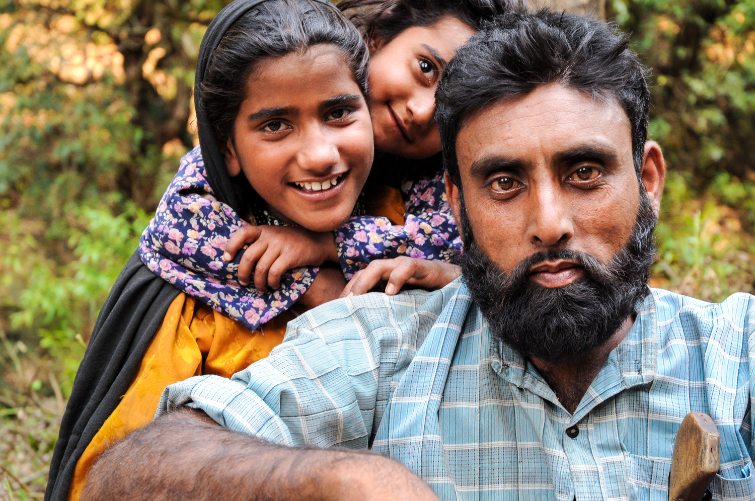 For the past few years, the family has been able to return to its ancestral meadows,but still has deep insecurities about what the future holds. Their best hope is India's Forest Rights Act - which  should protect their access to their traditional lands, but is unevenly implemented. Here, Dhumman's daughters Bashi and Salma, with his nephew, Mustooq..
