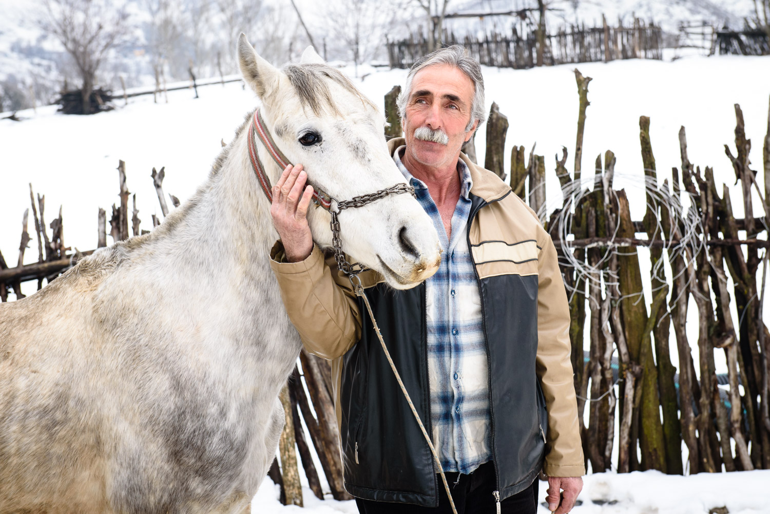Zeynur Eroglu, with his horse, in Sorsvenk village.