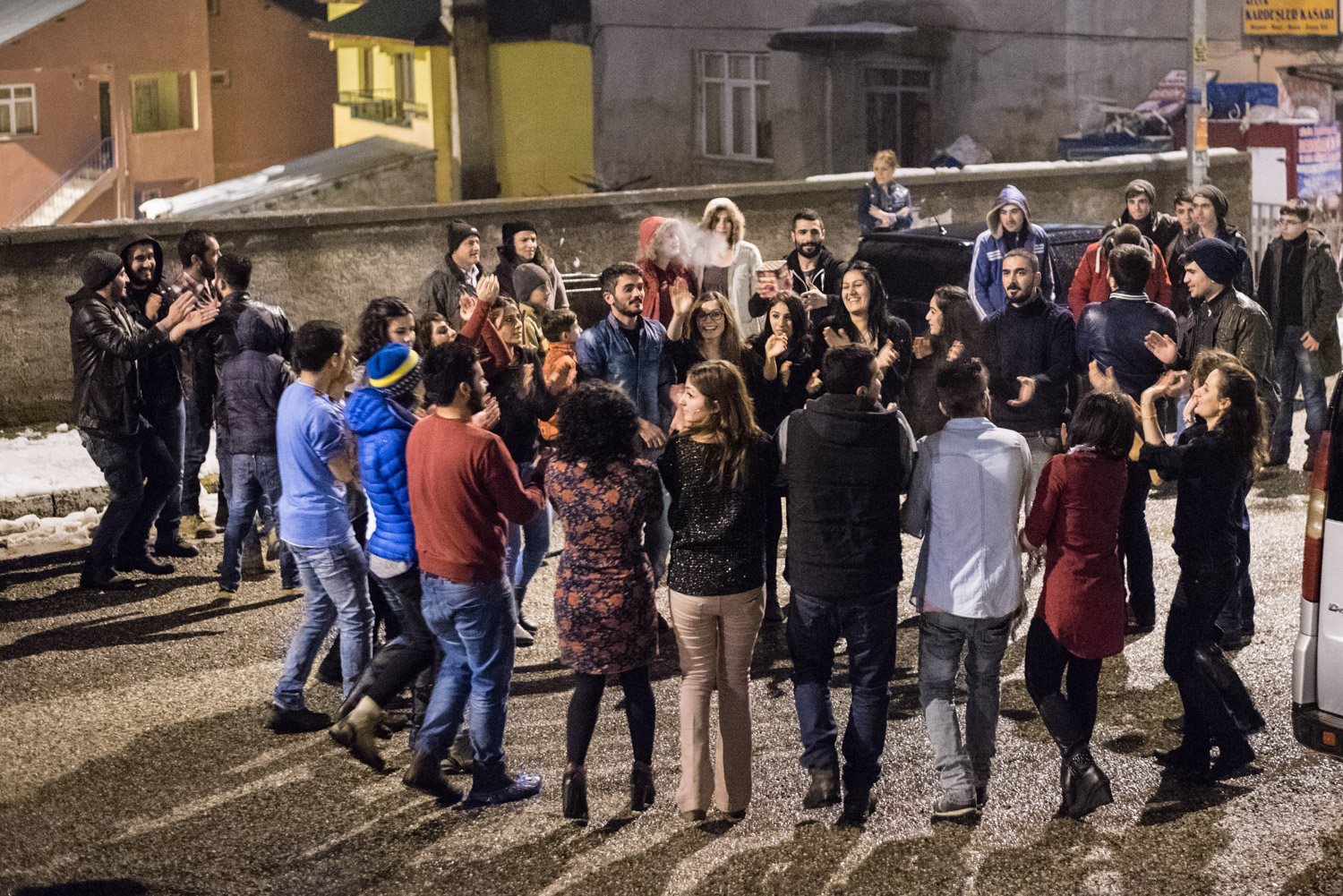 Dancing in the street in Ovacik at midnight on New Years Eve, welcoming 2015.
