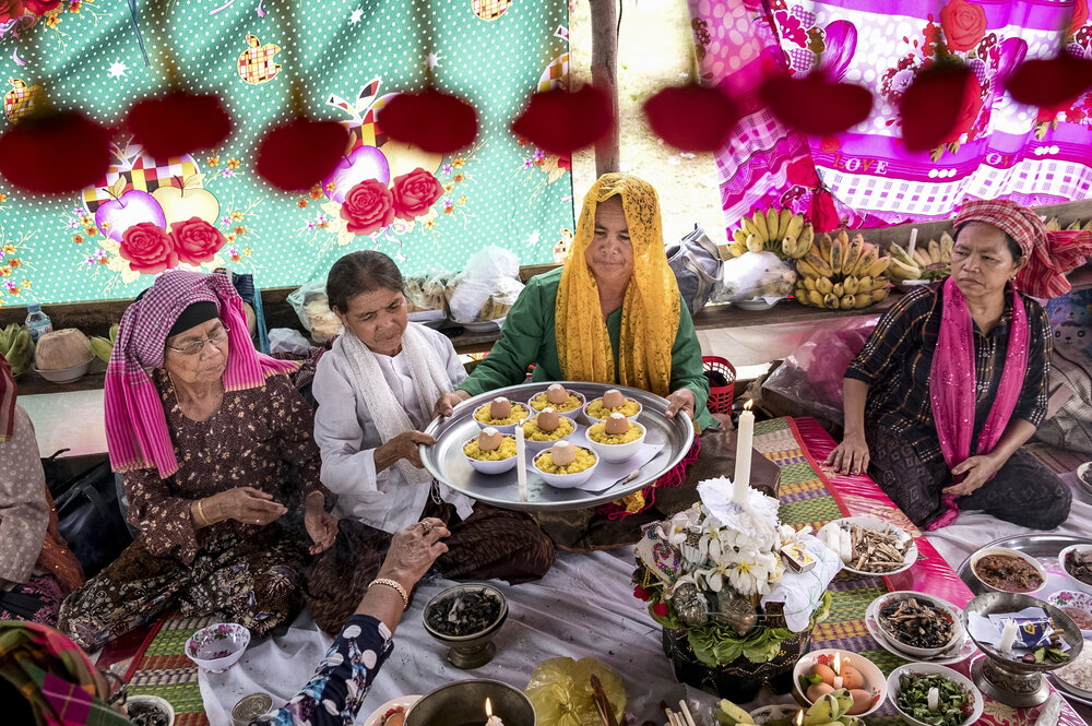 Imam San chai ceremonies are rituals rooted in ancient pre-Islamic practices, which channel the souls of ancestor spirits and in some cases, reenact scenes from Cham history.