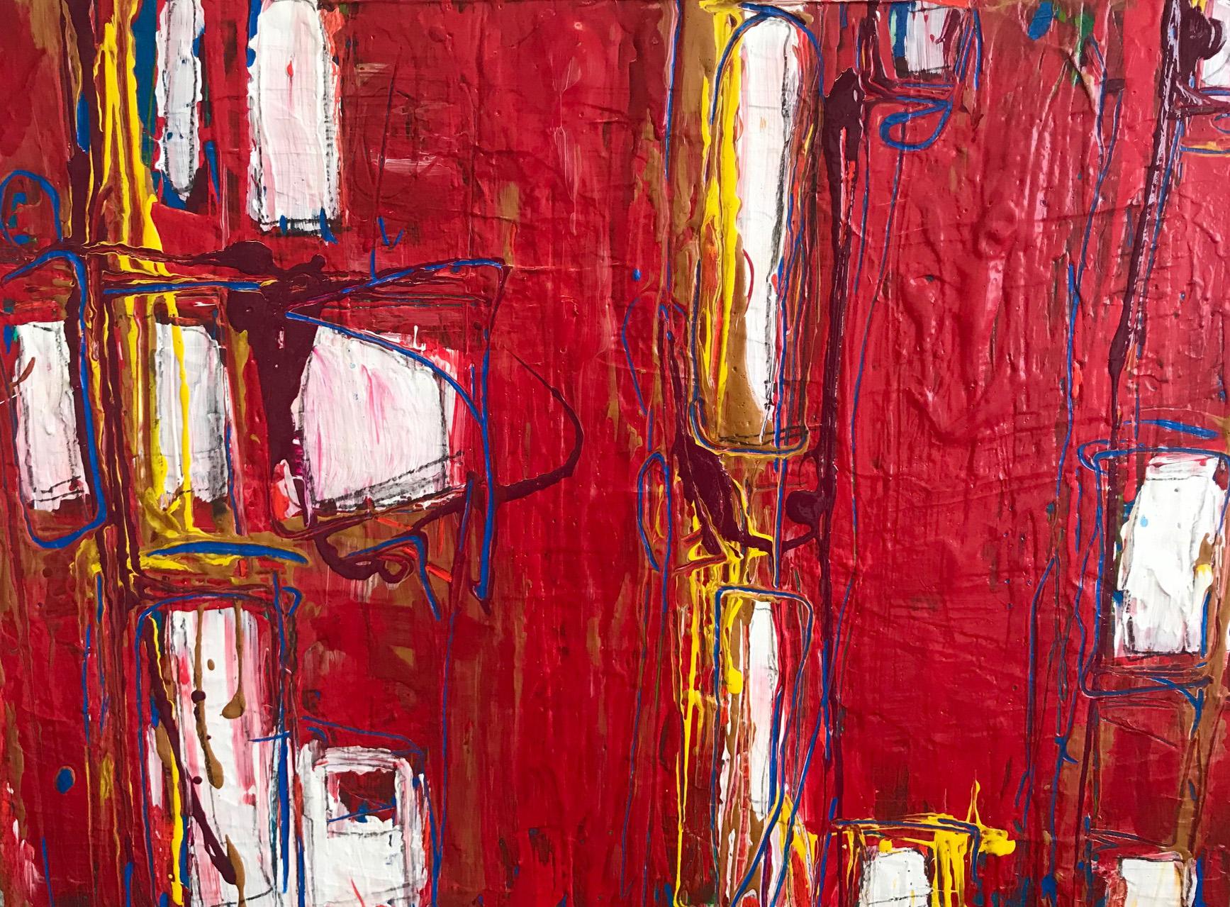 """Untitled, acrylic, gels on canvas board, 18"""" x 24"""" (framed 32x26)"""