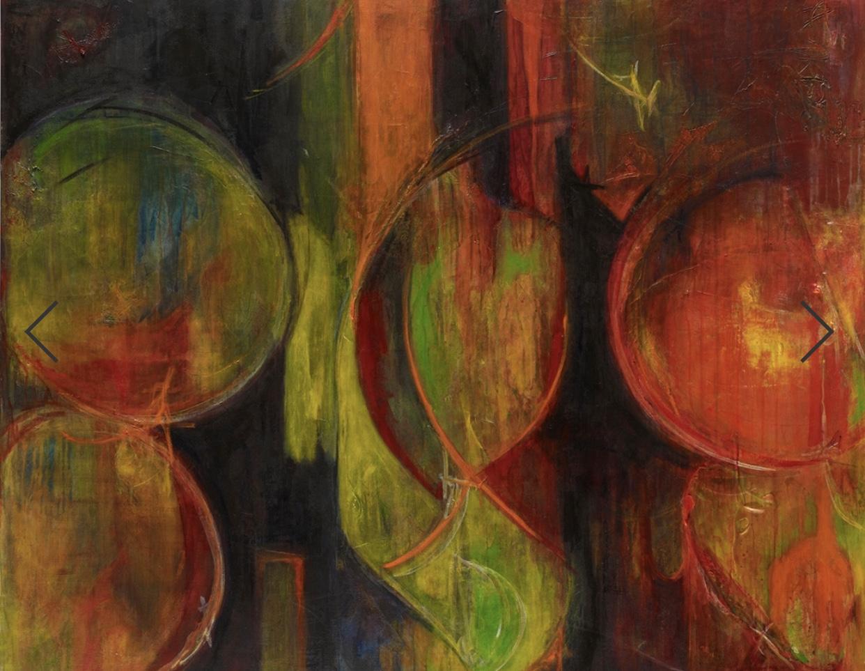 "Minds Eye, acrylic, gels, pencil, charcoal on canvas, 48"" x 60"""
