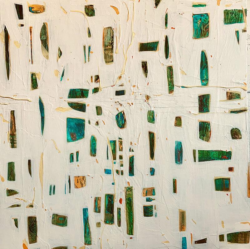 "Ocean Park, acrylic, modeling paste, spray on canvas, 30"" x 30"""