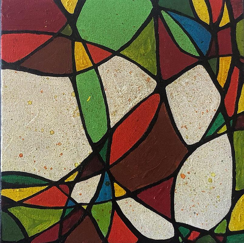 """Shapes, acrylic on canvas, 10"""" x 10"""" (framed)"""