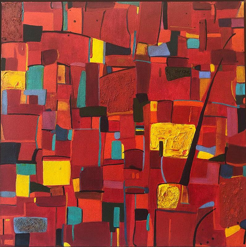 "San Paulo, acrylic, pumice stone, modeling paste on canvas, 20"" x 20"""