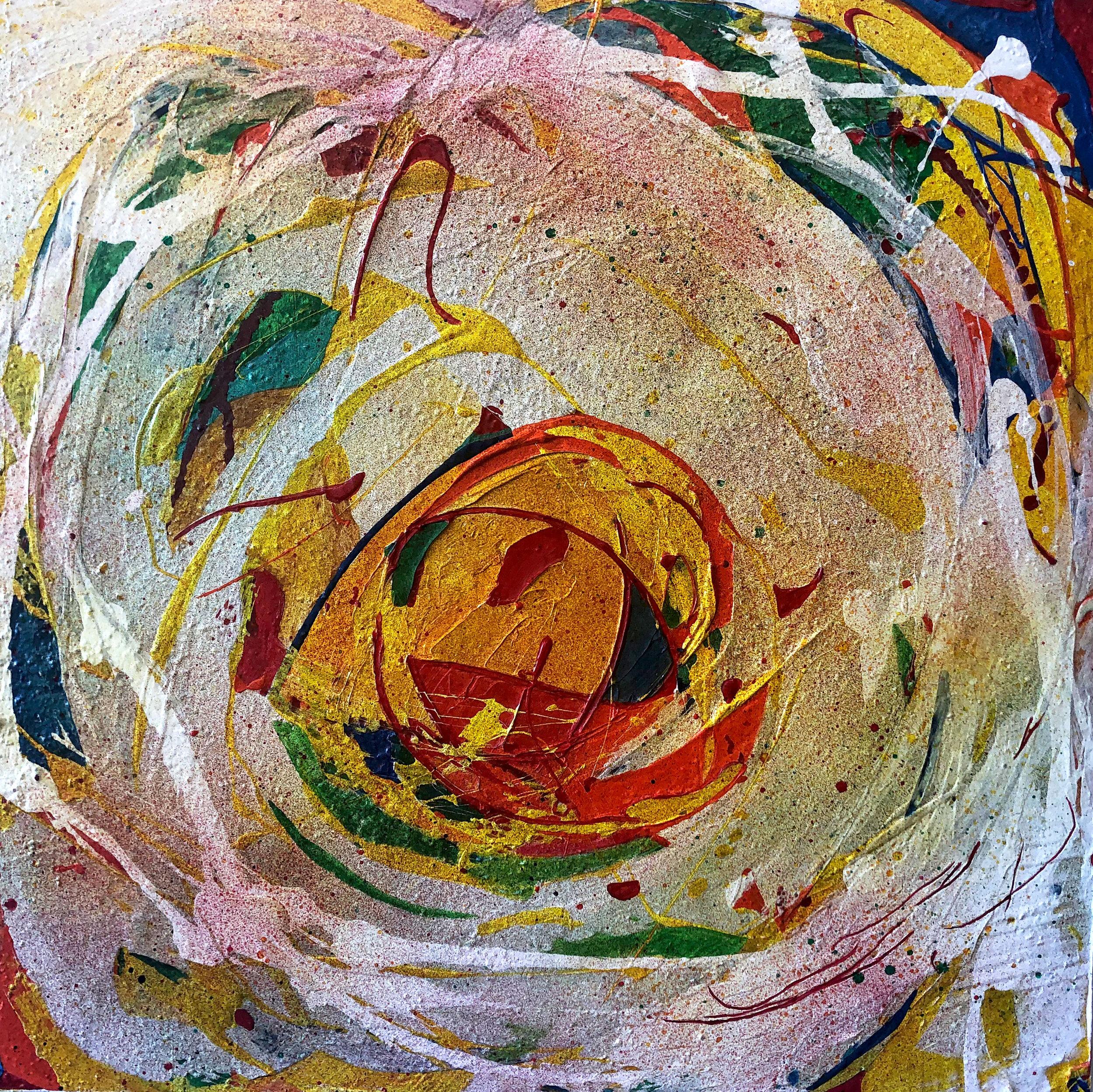 """Untitled, acrylic, modeling paste, sprays on wood, 24"""" x 24"""""""